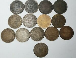 Vintage lot of 14 Canadian Large Cent Penny 12 different , 1 from newfoundland