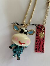 Betsey Johnson Blue Rhinestone Lovely Dairy Cow Crystal Chain Necklace-BJ50042
