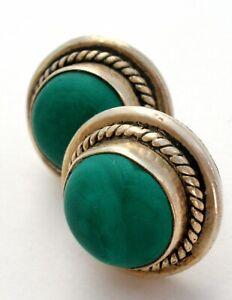 Green Malachite Earrings Sterling Silver Round Vintage Pierced Post 925 Jewelry