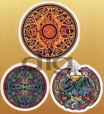 3 CELTIC Designs RARE Folklore IRISH Stickers PAGAN DRUID  Symbols Decals Set