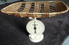 More details for vintage salter midwife's baby weighing scales with original wicker basket