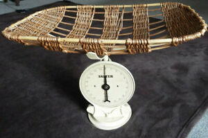 Vintage Salter midwife's baby weighing scales with original wicker basket