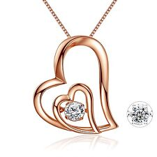Mabella Rose Gold Plated Sterling Silver Double Heart Dancing Pendant Necklace F