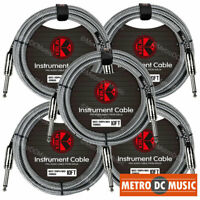 "5-Pack Kirlin 10ft Black Woven Guitar Bass Instrument Cord Cable 20AWG 1/4"" NEW"