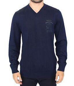 NEW ERMANNO SCERVINO Sweater Blue Wool Blend V-neck Pullover s. IT48 / M