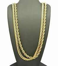 "Men 14K Gold Plated 6mm 30"" Rope & 6mm 30""  Miami Cuban Link Chain Necklace SN09"