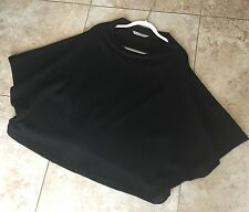 Itemz Chris Baumgartner Boiled wool funnel neck boxy poncho dolman sleeve black