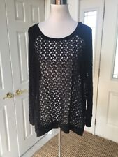 NWT Bobeau Crochet Lace 3/4 Sleeve  XL Black Tunic