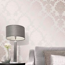 QUARTZ Papier peint Damas Doré Rose - décor fin fd42204 pailleté Metalique
