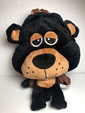 Prairie Schooner Bear Child's Backpack Black Plush Unisex Big Eyes Bag