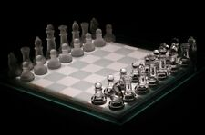 35 X 35CM GLASS CHESS BOARD TRADITIONAL GAME UNIQUE BEAUTIFUL GIFT 32 PIECES NEW