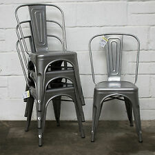Set of 4 Silver Metal Industrial Dining Chair Kitchen Bistro Cafe Vintage Seat