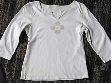 Unbranded 100% cotton, ¾-sleeve Summer T top White w/ lime green stitching - S