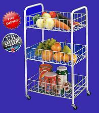 Vegetable Fruit Trolley Shelves Kitchen Basket Storage Shelf 3 Tier Wheels