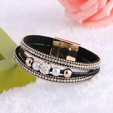 Women's  Fashion Magnetic Pearl Rhinestone Bracelet Multi-layer Bangle Leather