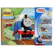 THOMAS TANK ENGINE & FRIENDS WOODEN WOOD 3 JIGSAW PUZZLES SET RAILWAY RRP £15
