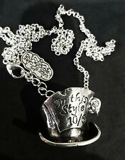 Alice in Wonderland MAD HATTER In this Style 10/6 Charm Pendant Silver Necklace