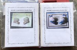 Pinflair 2x Congratulations Baby Booties Card Kit Blue & Pink PA148B PA148P