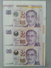 Singapore $2 3pcs UNCUT (Paper) Banknote With Corner Selvage