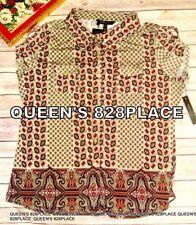 Nwt BCBG MAX AZRIA Womens size XL Tan Red Short Sleeve blouse floral Shirt Top