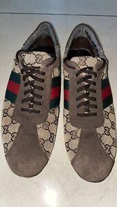 GUCCI Monogram Beige Suede Classic Trainer Low-Top Shoes Mens Sz 9