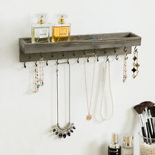 MyGift Vintage Gray Wood Jewelry Organizer Wall Shelf with Black Metal Hooks