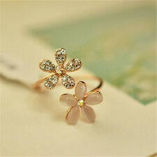 Fashion Women Girl Gold Filled Daisy Flower Crystal Rhinestone Adjustable Rings
