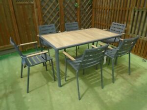 Alexander Rose Fresco Flint Table and 6 Stacking Chairs with FREE Cushions
