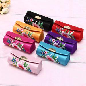 Lipstick Case Embroidered Holder Flower Design With Mirror Packaging A^BI