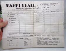 RARE March 1937 UCLA Bruins vs. USC Trojans BASKETBALL Program / Score Sheet
