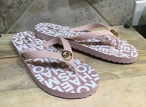 MICHAEL KORS WOMEN'S Sz 9 M PINK/WHITE  FLIP FLOPS GOLD  MK Logo NEW