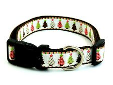 "Christmas Trees 1"" Width Adjustable Nylon Dog Collar - L & XL"