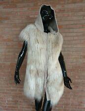 ECOPELLICCIA gilet mongolia fausse fourrure Violanti grey faux fox fur Kunstpelz