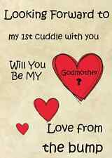 1st cuddle from the bump  Will You Be My Godmother A5  Greeting Card pidb11