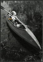 strong nude girl in canoe, sport, Vintage fine art Photograph, 1970'