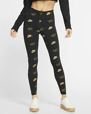 Nike Women's Sportswear All Over Printed Leggings Black/Gold CJ4061-010 d