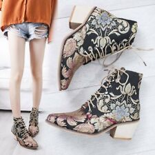 Womens Embroidery Floral Pointed Toe Ankle Riding Boots Lace Up Heels Shoes SIZE