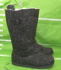 new ladies Black Rhinestone Winter Mid-Calf Boot sexy Side Button Size  7