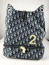 Rare Vtg Christian Dior by John Galliano Navy Trotter Monogram Backpack
