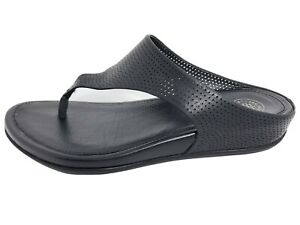 FitFlop E19-090 Banda Perforated Thong Black Sandal Women's Size US 6