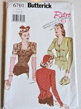 Butterick Pattern #6701 Miss Sz 12-14-16 Retro '43 Blouses