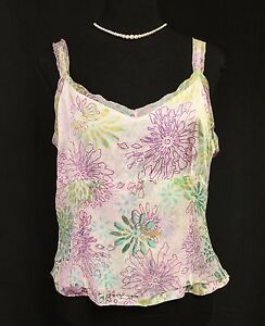 DD Collection SILK Cropped Cami Camisole Purple Green Floral - Sz 14 L Pre-Owned