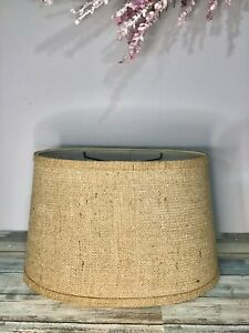 """Natural Burlap Rectangle Oval Lamp Shade 12"""" Wide x 8.5 Deep x 9"""" Height"""