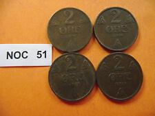 NORWAY (NORGE). HAAKON VII. 4 BRONZE COINS@2 ORE (1921+1928+1929+1931)#NOC51