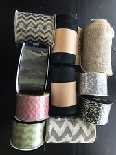 """Burlap and Canvas Ribbon 5 And 10 Yard Rolls, 2.5"""", 6"""" Wired And Unwired LOT"""