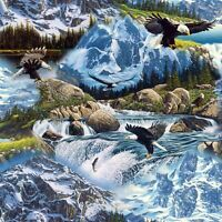 Eagle Waterfall Mysterious Mountain David Textile 100% Cotton Fabric by the yard