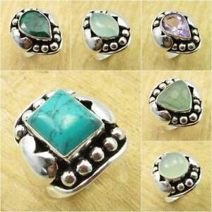 925 Silver Plated TURQUOISE & Other Stone WELL MADE Ring, Size Variation To Pick