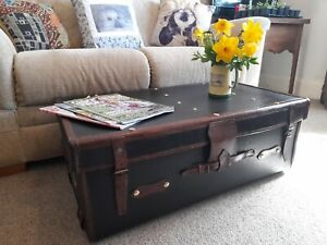 Superb Vintage Leather Bound Cabin Trunk Coffee Table Storage Chest Toy Box