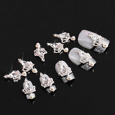10 piece DIY 3D Clear Stone Crown Alloy Rhinestone Nail Art Decoration Jewelry