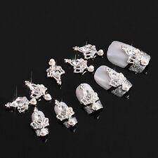 10 piece DIY 3D Clear Stone Crown Alloy Rhinestone Nail Art Decoration Jewelry